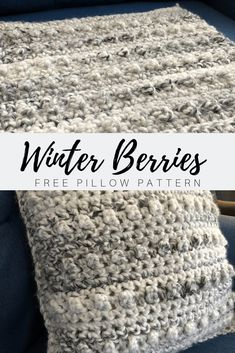 Winter Berries Pillow Pattern - By Grace and Finger Paint Winter-Beeren-Kissen-Muster - durch Anmut Crochet Pillow Patterns Free, Crochet Stitches Patterns, Crocheting Patterns, Blanket Patterns, Crochet Home, Crochet Gifts, Crochet Granny, Crochet Afghans, Chunky Crochet Blankets