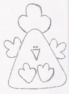 Cute chicken pattern with a triangle body. Felt Patterns, Applique Patterns, Applique Designs, Sewing Patterns, Chicken Crafts, Chicken Art, Small Chicken, Felt Crafts, Easter Crafts