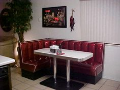 In the near future, would like to outfit my kitchen in 1950s diner style. I really like this L-shaped dinner booth...