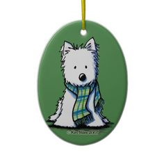 KiniArt Winter Scarf Westie Ceramic Ornament     Click on photo to purchase. Check out all current coupon offers and save! http://www.zazzle.com/coupons?rf=238785193994622463&tc=pin