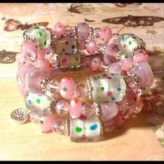 Bubblegum pink wrap bracelet NWOT Handmade bubblegum pink wrap bracelet featuring handmade glass and Czech glass with silver accents. Sayre Jewelry Bracelets
