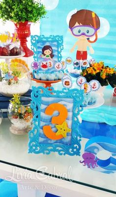 Fundo do Mar By Lívia Cabral Arte e Decor – Blog Inspire sua Festa 1 Year Old Birthday Party, Birthday Wishes For Kids, Baby Boy 1st Birthday, Birthday Gifts For Teens, First Birthday Parties, Shark Party, Under The Sea Party, Party Activities, Baby Shark