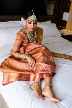 This bride's gold and pink benarasi saree is what dreams are made of! wedding saree Real Brides who donned the most Scintillating Silk Sarees Indian Bridal Sarees, Bridal Lehenga, Saree Wedding, South Indian Bride Saree, Bengali Bride, Bridal Silk Saree, Gold Silk Saree, Engagement Saree, Indian Wedding Bride