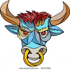 Bull face drawing 450 420 bulls - Raging demon symbol ...