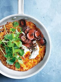 A salty and moreish rosti topped with chorizo is perfect for anytime of the day.