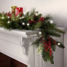 Cordless Pre-lit Cone & Berry Christmas Garland