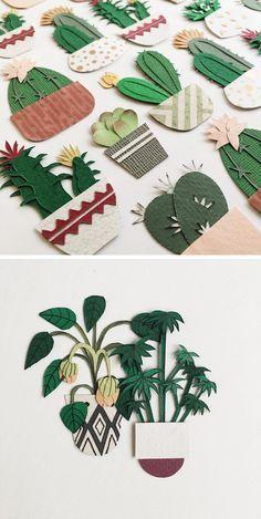Paper craft cacti by Lissova_craft paper art   paper plants   papercraft plants   cut paper cactus