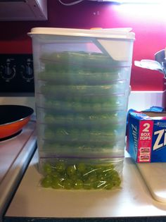 I was trying to think of a good way to have grapes as a handy snack while traveling on a road trip so I bought a tall/slim container and placed about 24 grapes per snack-size Ziploc and stacked them in the container. The container fits perfectly in the end of the cooler and will not have to be removed from the ice to get to the grapes! This keeps me from creating a hole in the ice while holding bottles to the side in order to get the container back in the cooler!