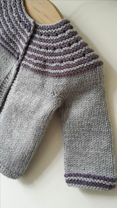 Hand knitted grey and purple cardigan by Oopsy Daisy Crochet Pattern by Tikki Knits
