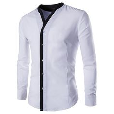 YesFashion Men's Placket Contrast Color Stand Collar Long Sleeve Slim Fit Shirt White M - Shirts - Men Nigerian Men Fashion, Indian Men Fashion, African Fashion Dresses, Mens Fashion, Formal Shirts, Casual Shirts, Men Shirts, Collar Shirts, Costume Africain