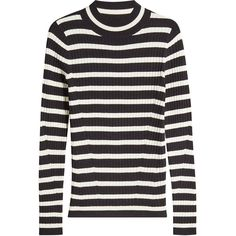 Steffen Schraut Striped Turtleneck Pullover ($210) ❤ liked on Polyvore featuring tops, sweaters, stripes, striped sweater, ribbed sweater, cashmere sweater, stripe sweaters and turtleneck sweaters