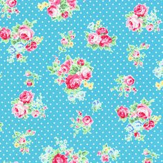 Flower Sugar Turquoise fabric - turquoise floral, Lecien - modern fabric, modern floral, pink rose, turquoise polka dot 2013
