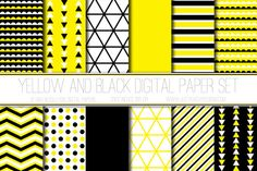 Modern Digital Paper Yellow & Black by JustPeachyDigitals on Etsy