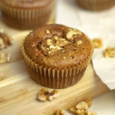 """Cinnamon Spice Muffins! These grain-free treats use applesauce instead of oil for a lower-calorie """"Paleo"""" muffin!"""