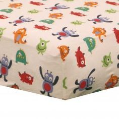 Blue And Red Colorful Monsters Cheap Baby Boys 4p Alien Nursery Crib Bedding Set