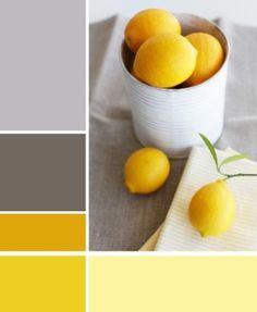 white gray and bright lemon yellow color palette, lemons in whitewashed metal can, gray tablecloth, white napkin, lemon with green stem Lemon Yellow, Lemon Lime, Lemon Bowl, Yellow Grey Weddings, Yellow Wedding, Mellow Yellow, Bright Yellow, Color Yellow, Mustard Yellow