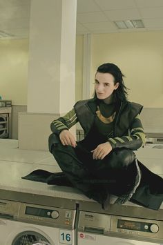 "Loki cosplay - Why's he at a laundromat? ""Eheheh. Bright red sock snuck into your whites? LOKI'D!"""