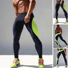 New Mens Joggers Spliced Tight Ankle Sweatpants Spandex Running Tights Sports Leggings Fitness Men Skinny Joggers Sport Green Mens Compression Pants, Compression Clothing, Workout Leggings, Leggings Are Not Pants, Yoga Leggings, Mens Running Tights, Mens Tights, Jogging, Male Fitness