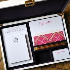 This mix-and-match, personalized stationery desk set is sure to wow! The Purple Ikat Collection is flat printed and letterpressed in fuchsia & eggplant inks and customized with your name and monogram.  The pencils are a coordinating gold.  The white lacquer box includes:  150 sheet 4.25