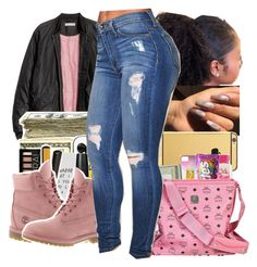 """p i n k t i m b e r l a n d s"" by bbynisa ❤ liked on Polyvore featuring SEN and Timberland"