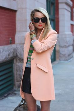 Love the long jacket with shorts and the jewelry is nice as well.