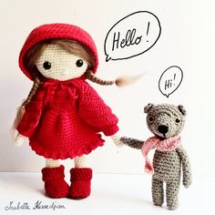 Amigurumi Little Red Riding Hood and the wolf Love Crochet, Crochet Gifts, Crochet For Kids, Diy Crochet, Crochet Amigurumi, Amigurumi Patterns, Amigurumi Doll, Crochet Patterns, Knitted Dolls