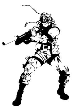 Solid Snake stencil template Metal Gear Solid, Heavy Metal, Stencil Templates, Stencils, Glass Engraving, Wood Carving, Tigger, Illustrations Posters, Wood Signs