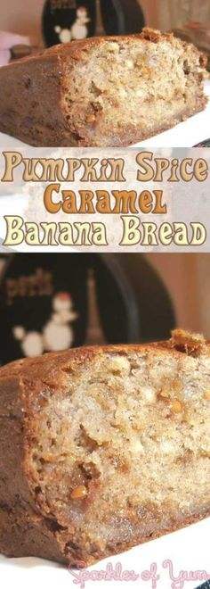 Pumpkin spices along with caramel gooey goodness, in a super simple banana bread turns out to be ohh so delish!!