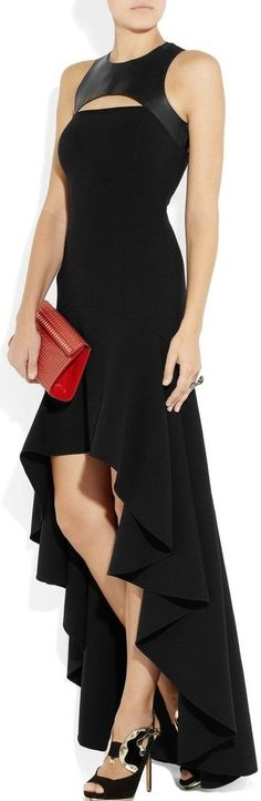 Michael Kors Stretch-wool crepe and leather harness gown ♥✤ | Keep the Glamour | BeStayBeautiful