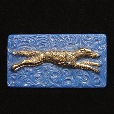 Greyhound Dog Pin Vintage Art Deco Glass & Silver Brooch