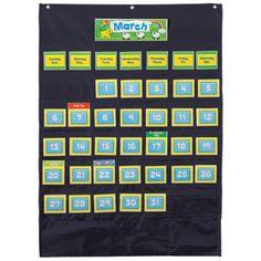 Deluxe Calendar Pocket Chart, Black, CD158574