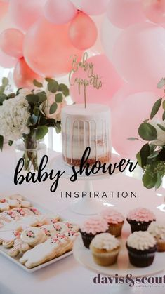 Farmhouse, Pink Decor and Balloons make this baby shower elegant. Adorable desserts, Alpha Lite & balloon display and garlands. Baby Shower Menu, Baby Shower Desserts, Baby Girl Shower Themes, Girl Baby Shower Decorations, Babyshower Girl Ideas, Baby Shower Cakes, Babyshower Decor, Baby Shower Gifts, Elegant Baby Shower