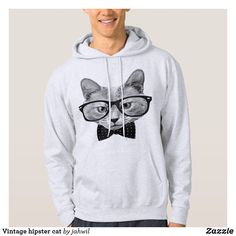 Vintage hipster cat hoodie #cats #funnycats #hipster #lolcats