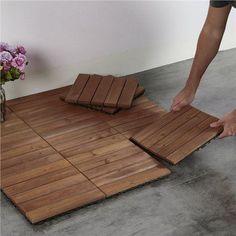 Outdoor Wood Flooring, Balcony Flooring, Wood Patio, Diy Patio, Outdoor Tiles Floor, Balcony Tiles, Ikea Patio, Concrete Patios, Wooden Floor Tiles