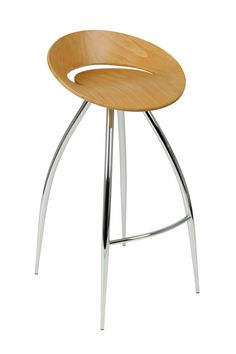 Rubin Bar Stool - Natural/Chrome by Euro Style - Matching tempered glass tabletops and bases are the main design statement here.  On the practical side, the stainless steel column is adjustable so that the table can be used as a side table, at table height, or at counter height.  Versatile as you are creative.