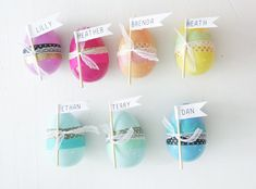 washi tape Easter eggs - post to KISS FB Hoppy Easter, Easter Eggs, Diy Place Settings, Egg Tree, Table Setting Inspiration, Plastic Eggs, Easter Crafts, Easter Ideas, Holiday Crafts