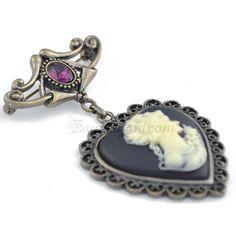 Vintage Amethyst Cameo Pin Brooch