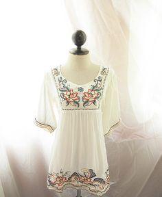 White Bohemian Lotus Hippie Gypsy Spanish Seville Exotic Mexican Embroidered Indie Morrocan Moorish Spring Motif Cotton Kaftan Tunic Dress
