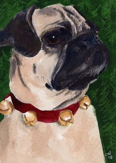 Pug Painting - Christmas Pug by Christine Winship Pug Art, Pugs, Pug Dogs, Cute Costumes, Puppy Pictures, Dog Mom, Fine Art America, Dog Lovers, Puppies