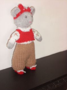 HAND KNITTED  MISS MOUSE CBEEBIES SHOW ME PROGRAME/MICE