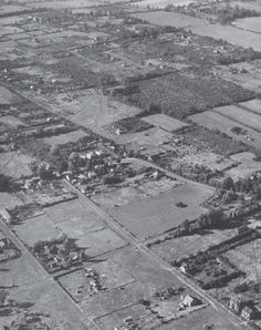 An aerial view of Fryerns before the development of the new town.  You can see how much of the land was divided up into small plots with sma...