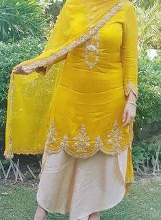 Tulip Pant Plazo With Yellow Embroider Wedding Designer Latest Salwar Kameez New Punjabi Suits Party Wear, Party Wear Indian Dresses, Designer Party Wear Dresses, Dress Indian Style, Punjabi Salwar Suits, Wedding Dresses, Kurta Designs, Kurti Designs Party Wear, Blouse Designs