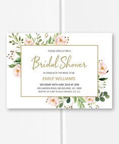 Bridal shower invitation printable, greenery bridal shower ideas, pink and gold bridal shower invites from Pink Summer Designs on Etsy