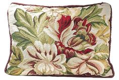 Floral Needlepoint Pillow on OneKingsLane.com Reduced to $79!