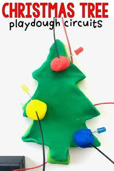 Playdough Christmas Tree Circuits - I Can Teach My Child! Christmas Books, Christmas Crafts For Kids, Felt Christmas, Christmas Themes, Preschool Christmas Activities, Craft Activities, Keepsake Crafts, Craft Stick Crafts, Circuits
