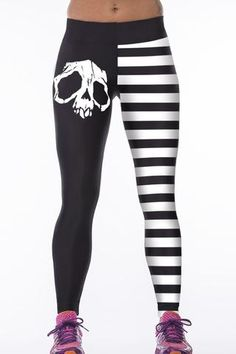 Crane Numerique Leggings Blanc Stripe Print Yoga elastiques Sport Pantalons