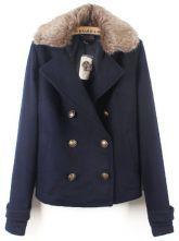 #SheInside Navy Fur Lapel Long Sleeve Buttons Pockets Coat $50.96