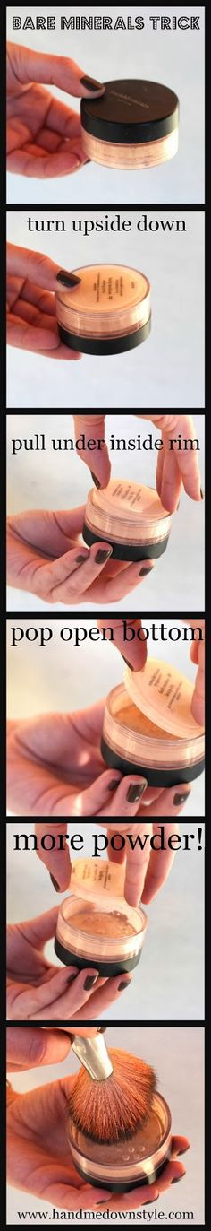 Bare Minerals trick. Great idea for when that bit of powder won't come out. No need to waste!