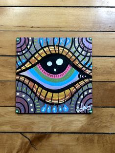Simple Canvas Paintings, Easy Canvas Art, Small Canvas Art, Mini Canvas Art, Acrylic Painting Canvas, Painting On Wood, Psychedelic Drawings, Trippy Drawings, Art Drawings