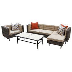 AE Outdoor 4-Piece Brown Aluminum Patio Conversation Set